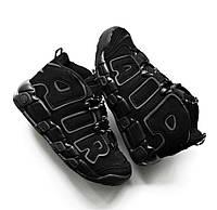 Nike Air More Uptempo Triple Black   мужские кроссовки; черные; высокие; тёплые; осенние/демисезон