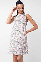Льняное короткое пудровое женское платье RiMari Отти  42, 44, 46, 48, 50, 52