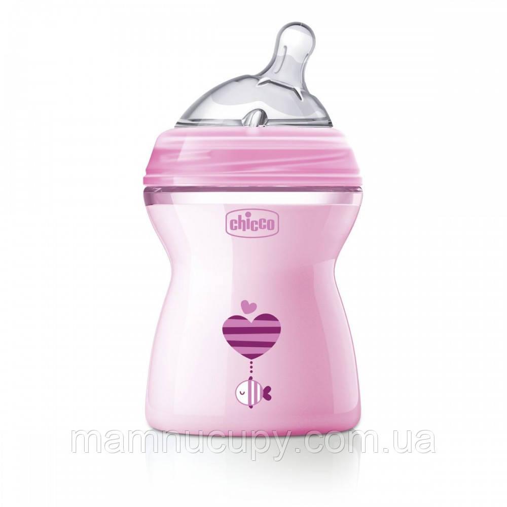 Бутылочка Chicco - Natural Feeling (80825.11) 250 мл / 2 мес.+, пластик, соска силикон (средний поток), розовы