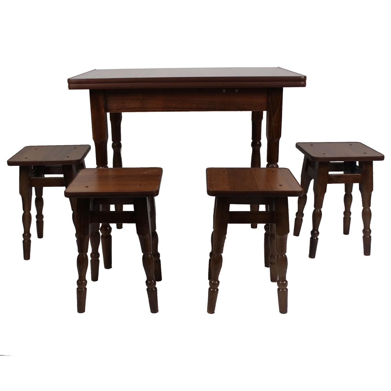 """Раскладной обеденный набор стол и стулья для кухни (1я Категория). """"Орех"""""""