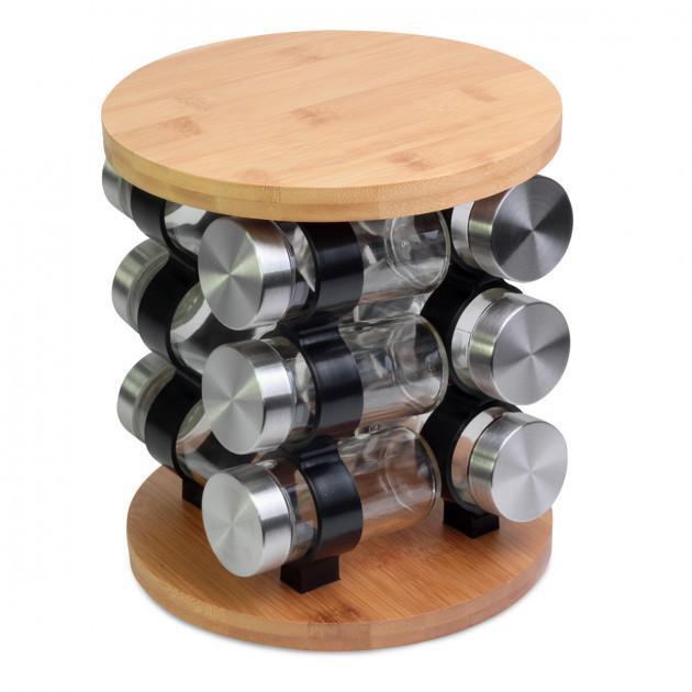 Набір ємностей для спецій на дерев'яній підставці Kamille KM-7031W