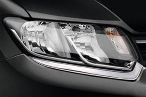Накладки на фары (2 шт, нерж) Dacia Logan III 2013↗ гг.