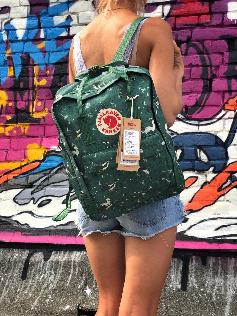 Рюкзак  Fjallraven Kanken,  Канкен зеленого цвета. Стильный городской рюкзак. Реплика. ТОП КАЧЕСТВО!!!