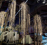 "Гирлянда ""Конский хвост"" пучок 700 мини-LED: 28 линий по 2.5 метра, 25 диодов/ нить, цвет - тёплый белый, пост"