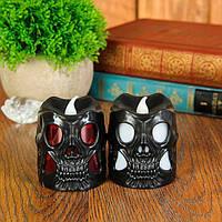 """Портативная свеча на батарейках  """"Череп""""- светится, декорация на хэллоуин, 2 расцветки, набор 12 шт"""