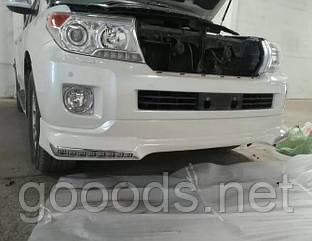 Накладка переднего бампера диодная Тойота Крузер 200 (12-15), белая