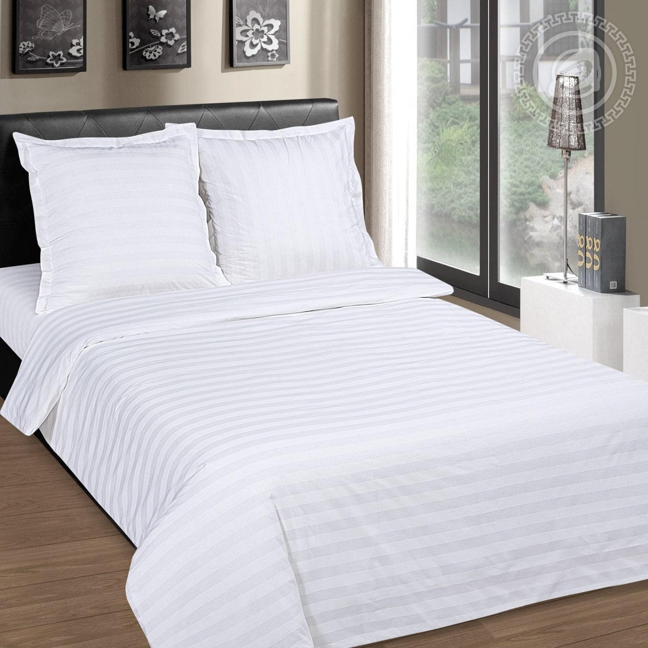 Двуспальный комплект постельного белья 178х215 «Белый в полоску» из бязи голд