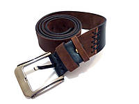 Ремень кожаный двухцветный ручной работы handmade