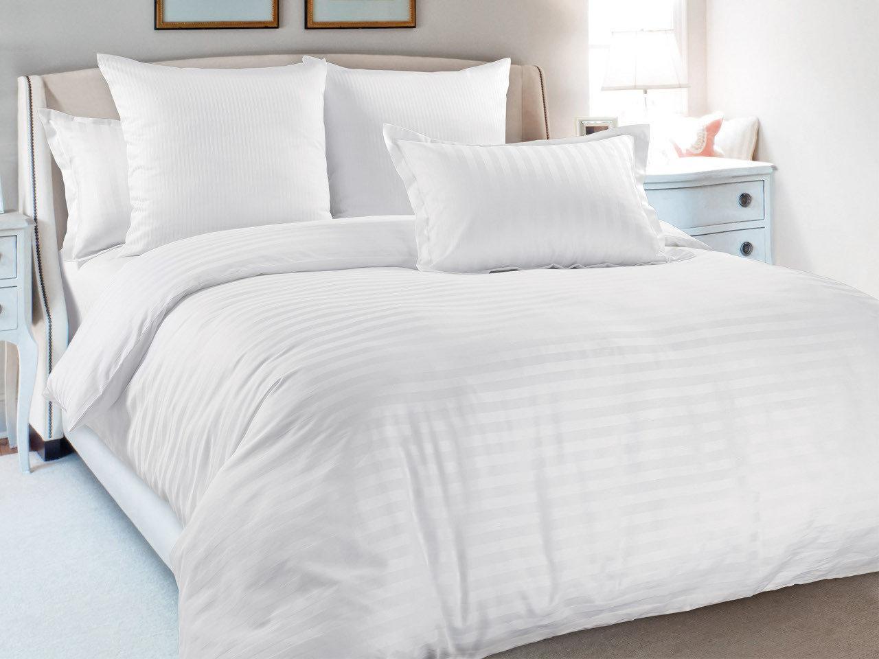 Евро комплект постельного белья 198х215  «Белый в полоску» из бязи голд