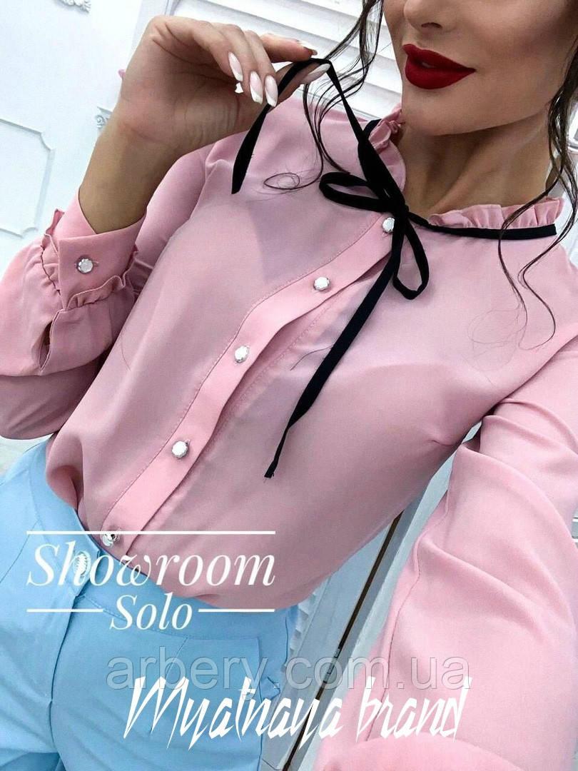 Женская классическая блуза с бантиком