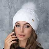 Женская шапка «Эвелина» с цветным помпоном, фото 2