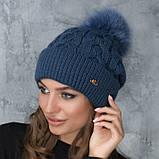 Женская шапка «Эвелина» с цветным помпоном, фото 3