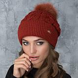Женская шапка «Эвелина» с цветным помпоном, фото 4