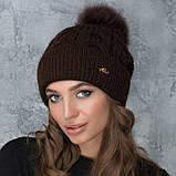 Женская шапка «Эвелина» с цветным помпоном, фото 5