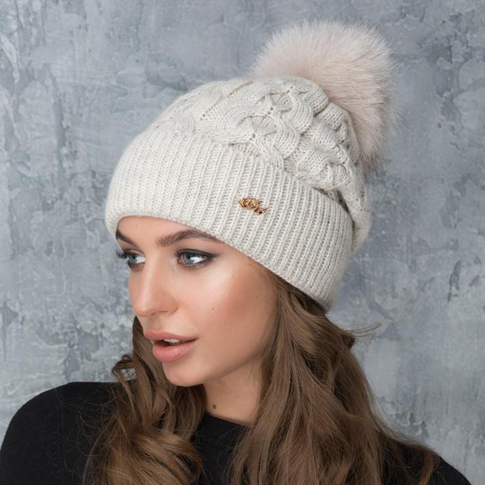 Женская шапка «Эвелина» с цветным помпоном