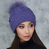 Женская шапка «Эвелина» с цветным помпоном, фото 7