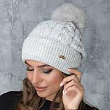Женская шапка «Эвелина» с цветным помпоном, фото 8