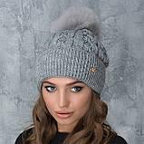 Женская шапка «Эвелина» с цветным помпоном, фото 9