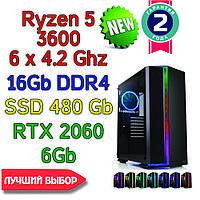 Игровой компьютер / ПК  ( AMD Ryzen 5 3600  (6 x 4.2GHz) \ B450 \ 16Gb DDR4 \ 480 Gb \ RTX 2060 6Gb \ 700W)