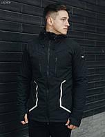 Куртка мужская демисезонная Staff softshell black line с рефлективными вставками