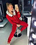 Женский вязаный костюм: кофта на молнии с мехом на капюшоне и штаны (в расцветках), фото 4