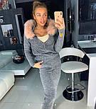 Женский вязаный костюм: кофта на молнии с мехом на капюшоне и штаны (в расцветках), фото 2