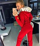 Женский вязаный костюм: кофта на молнии с мехом на капюшоне и штаны (в расцветках), фото 9