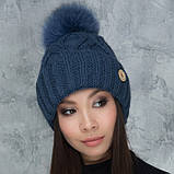 Жіноча шапка «Гламур» з кольоровим помпоном, фото 4