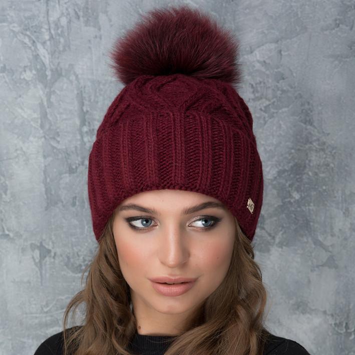 Жіноча шапка «Гламур» з кольоровим помпоном