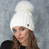 Жіноча шапка «Гламур» з кольоровим помпоном, фото 5