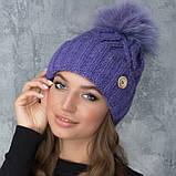 Жіноча шапка «Гламур» з кольоровим помпоном, фото 8