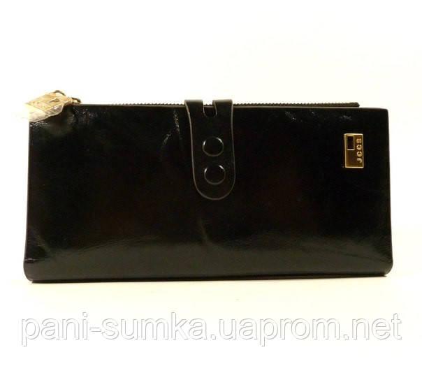 Кошелек кожаный женский JCCS 1079 черный на кнопке, расцветки