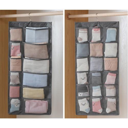 Двухсторонний органайзер для хранения вещей 12+18 карманов, серый