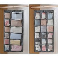 Двухсторонний органайзер для хранения вещей 12+18 карманов, серый, фото 1