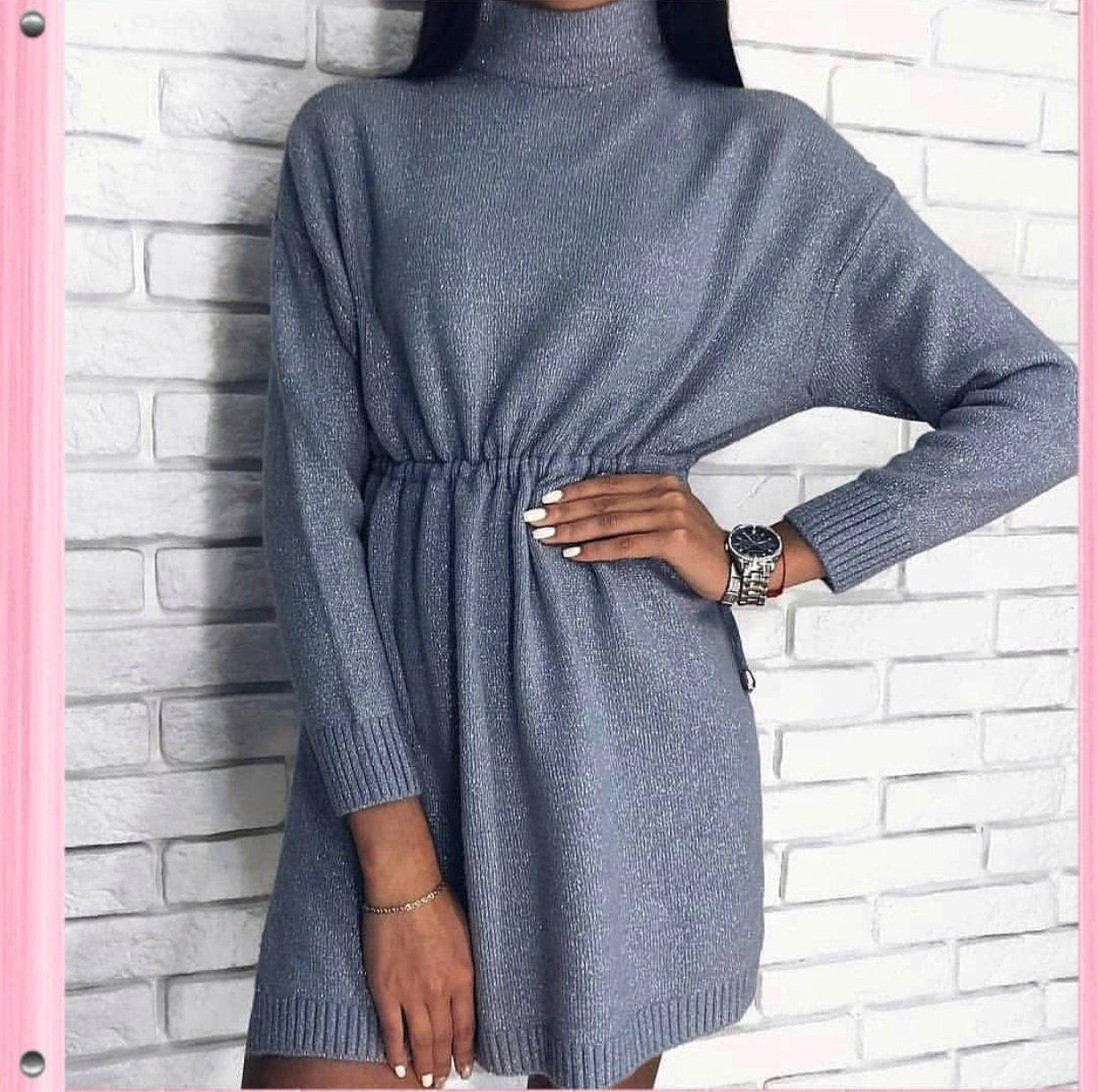 Платье-туника с люрексом под горло