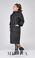 Черное стеганое пальто до колен батал ( ромб и полоска ) Размеры 48,50,52,54,56-58,60-62