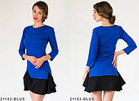 Симпатичное повседневное платье из мягкого французского трикотажа с асимметричной баской на юбке  Betis