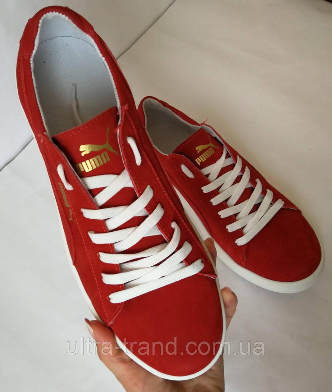 Puma classic! Мужские кроссовки кеды  натуральный нубук красного цвета Пума классик!