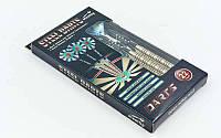 Дротики для игры в дартс цилиндрические  Baili (латунь,вес 22гр,3шт.,+3хвост,+6опер, футляр)