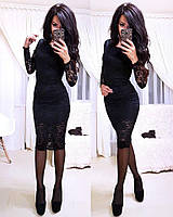 Вечернее миди платье с гипюром, фото 1