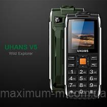 UHANS V5 Green Army 2 SIM, яркий фонарик, громкий динамик, функция Power Bank 2500 мАч