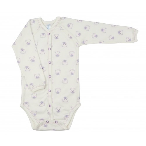 Боди Верес Baby Bear lilac футер з начесом бежевый