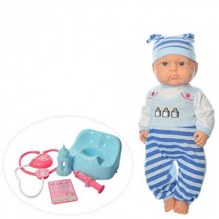 Кукла пупсик в голубой одежде с горшочком и набором для лечения 6115 AC, фото 2