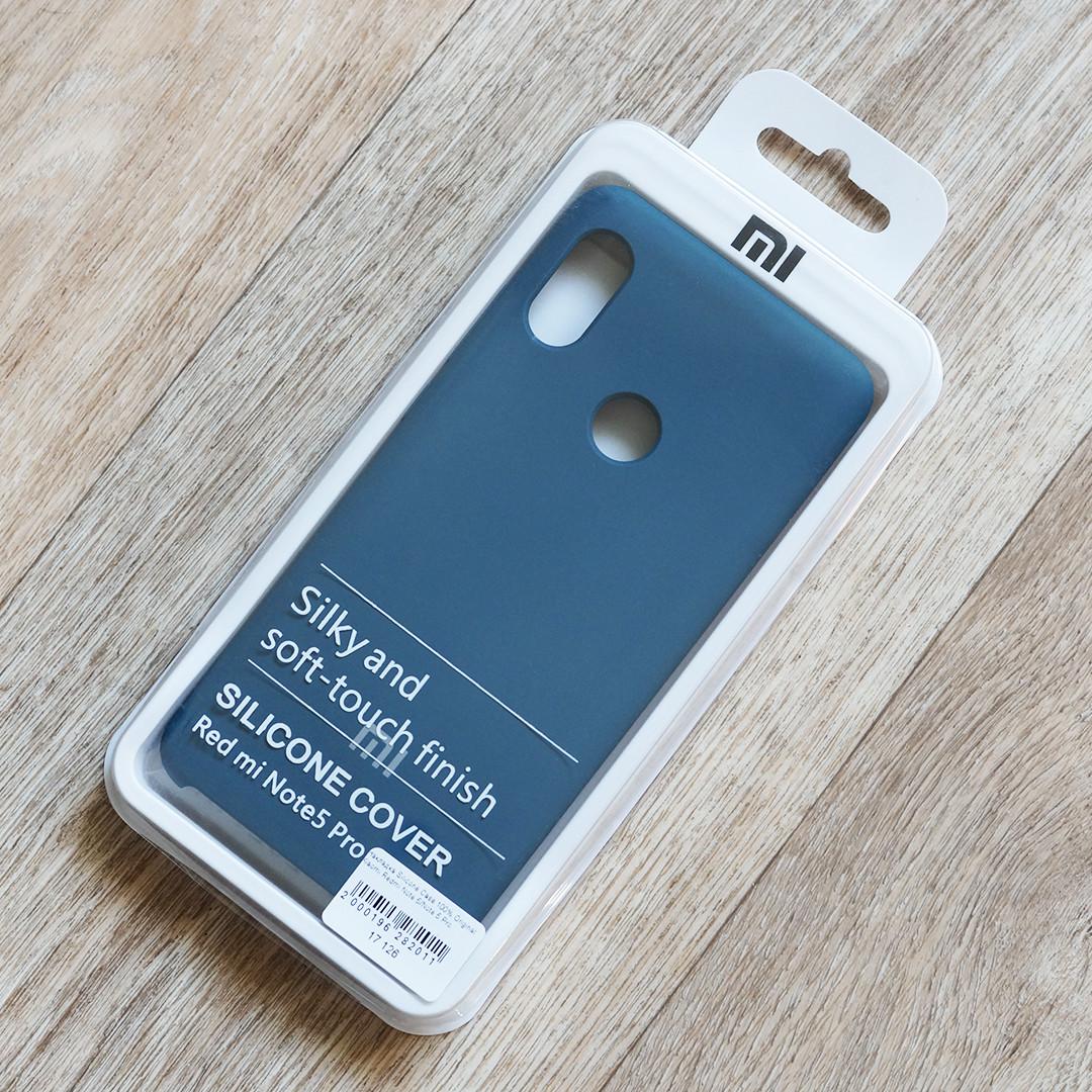 Оригинальный чехол Silicone Cover для Xiaomi Redmi Note 5 (темно-лазурный, микрофибра внутри)