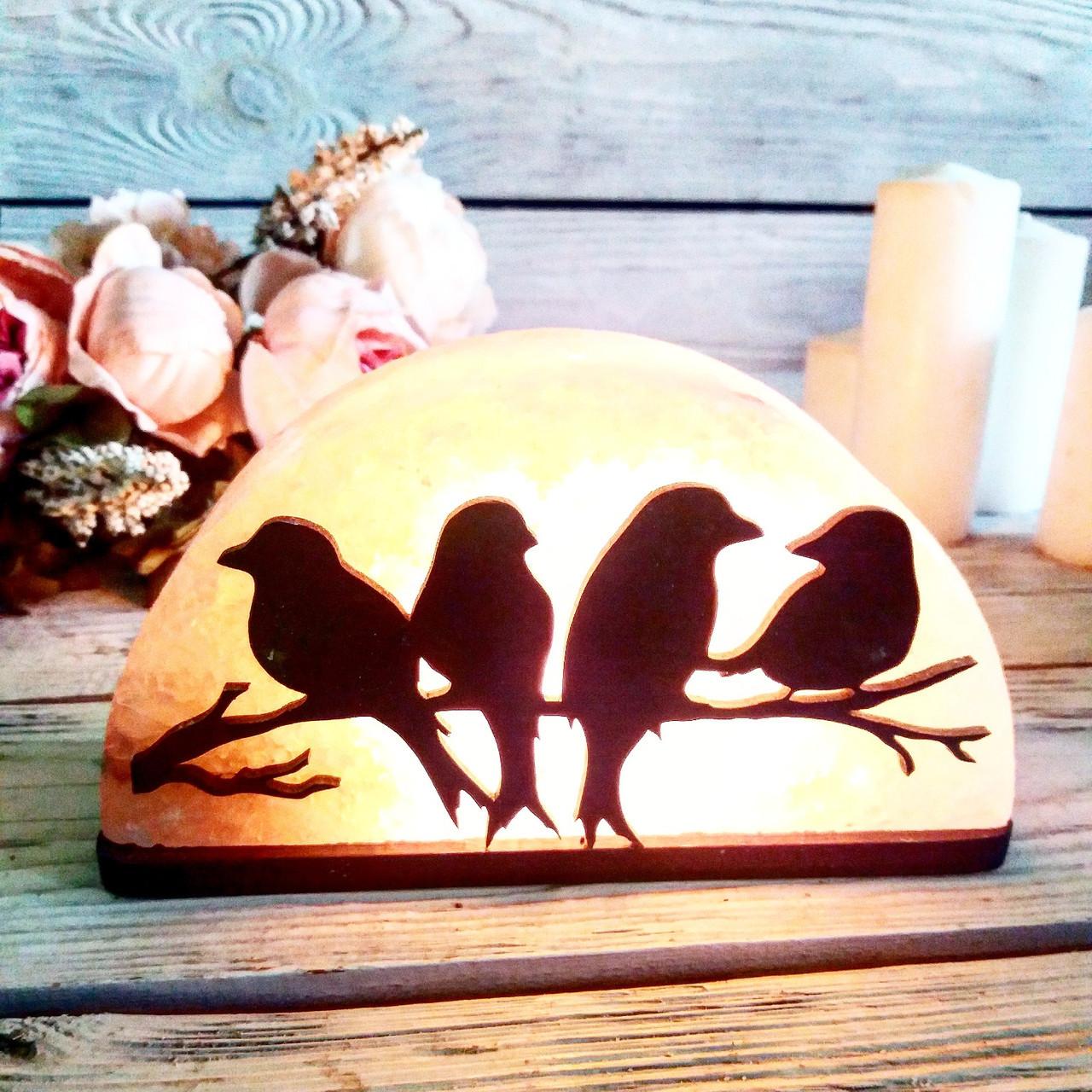 Соляная лампа Птицы на ветке