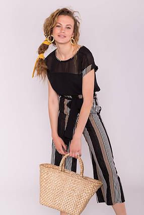Летний женский костюм из льна с брюками-кюлотами (S, M, L) полоска комби черн/беж/мол, фото 2