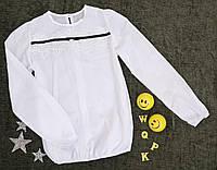 Блуза на дівчинку, довгий рукав, чорна тасьма, р. 140-158, білий