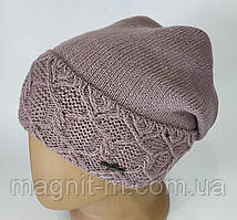 Женская теплая шапка с напуском.  Флисовая подкладка. Темная пудра.