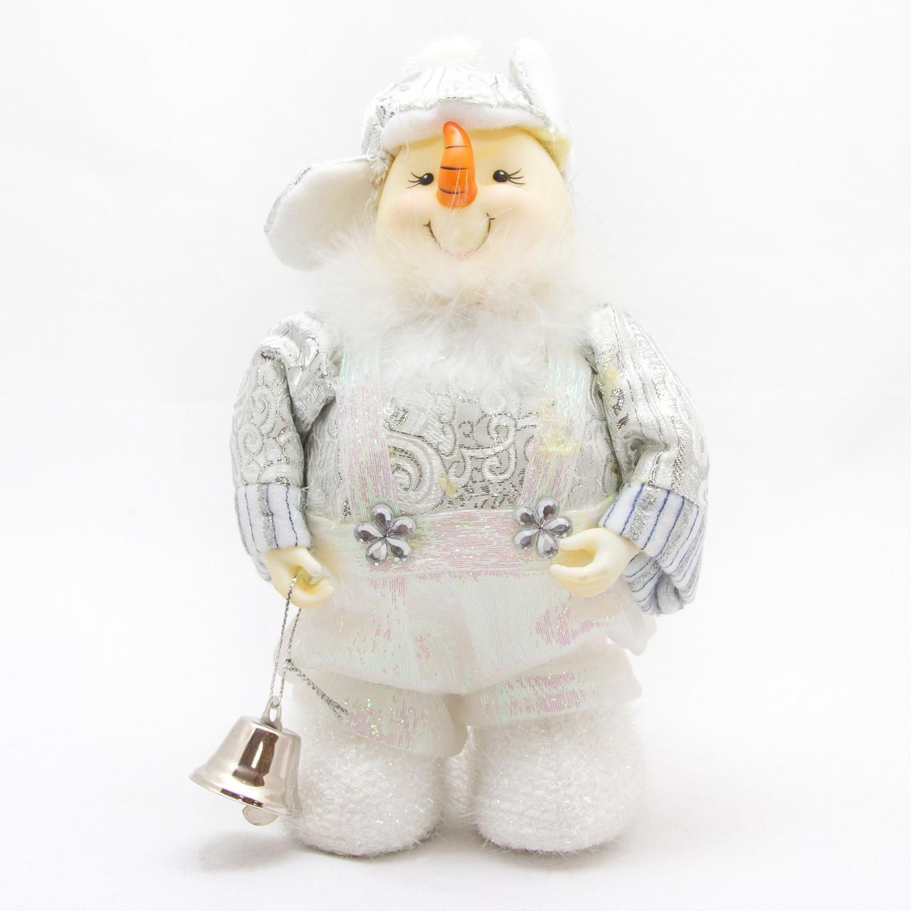 Новогодняя сувенирная фигурка мягкая Снеговик, 20 см, белый (180424-5)