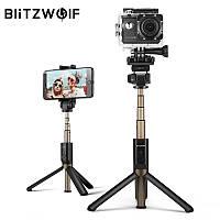 Селфи-стик 4 в 1, монопод Blitzwolf BW-BS3 Sport Black с Bluetooth управлением + крепление для экшн-камер